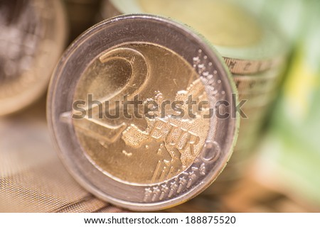 Euro coins with euro banknotes / Euro Money - stock photo