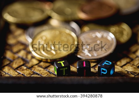 euro coins with text toy ,tip word.