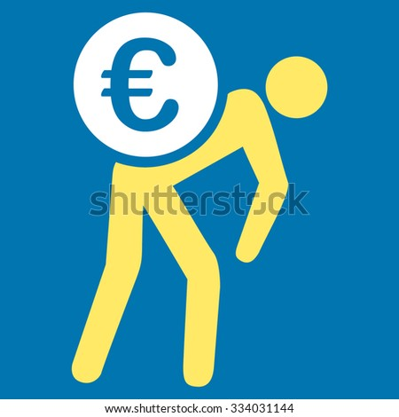 Euro Courier glyph icon. Style is bicolor flat symbol, yellow and white colors, rounded angles, blue background. - stock photo