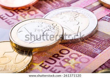 Euro currency. Coins and banknotes. Cash money background. Money concept - stock photo