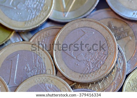 Euro currency coins, official standard currency of the Eurozone which consists of 19 countries - stock photo