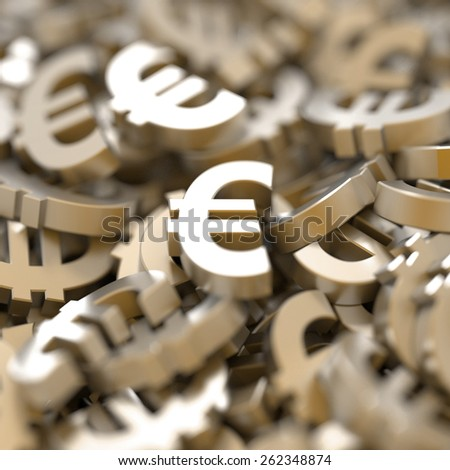 Euro currency conceptual background, 3d realistic render.