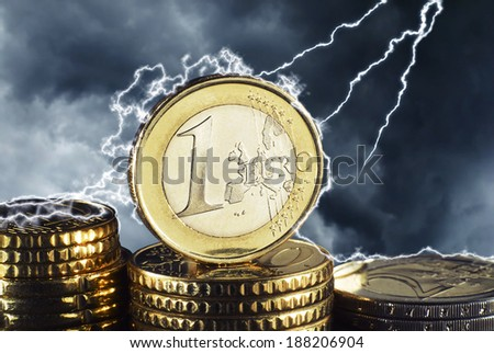 Euro currency in the thunderstorm - stock photo
