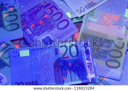 Euro currency in UV light protection/Euro in UV light/Euro currency in UV light protection/