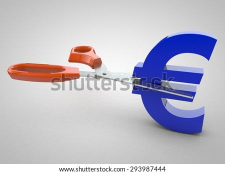 Euro currency sign being cut in two by scissors isolated on white background - stock photo