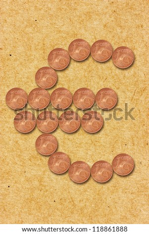 Euro currency sign shaped with cent coins - stock photo