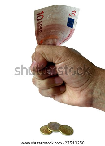 Euro currency squeezed to make cents out if it - stock photo