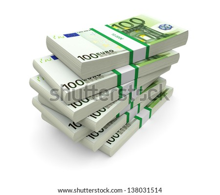 Euro currency stacks on a white background. 3d image - stock photo