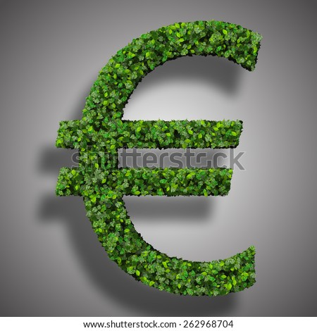 Euro (currency) symbol or sign made from green leaves isolated on white background. 3d render. - stock photo