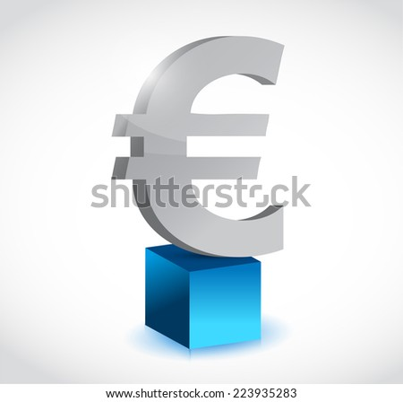 euro currency symbol over a cube illustration design over a white background