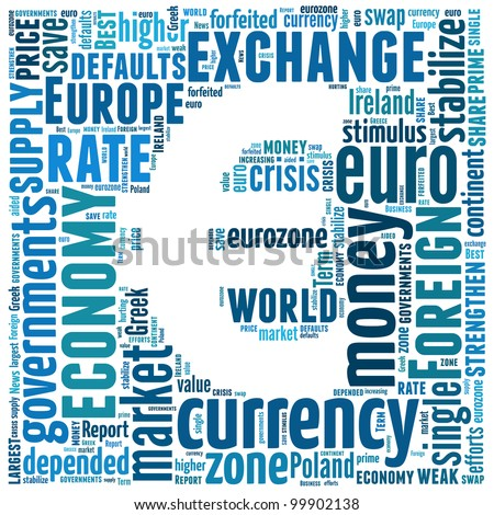 Euro currency symbol - text arrangement illustration. Financial and economic concept.