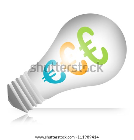 Euro Currency Symbols in The Light Bulb Isolated on White Background - stock photo
