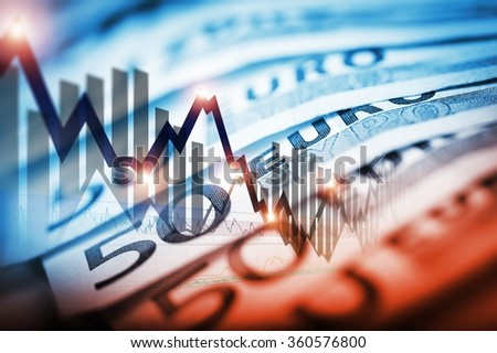 Euro Currency Trading Concept Illustration with Forex Line Graphs and Fifty Euro Banknotes. Trading Business Concept - stock photo