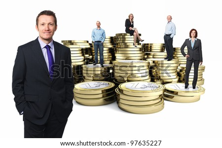 euro 3d coin and businesspeople - stock photo