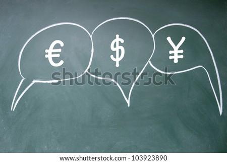euro?dollar and yuan debate  symbol - stock photo
