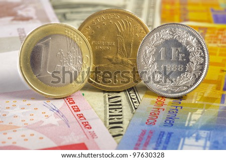 euro, dollar, franc currency - stock photo