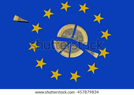 euro eurozone coin, brexit, 3d rendering - stock photo