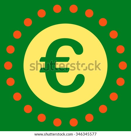 Euro Gold Coin glyph icon. Style is bicolor flat symbol, orange and yellow colors, rounded angles, green background.