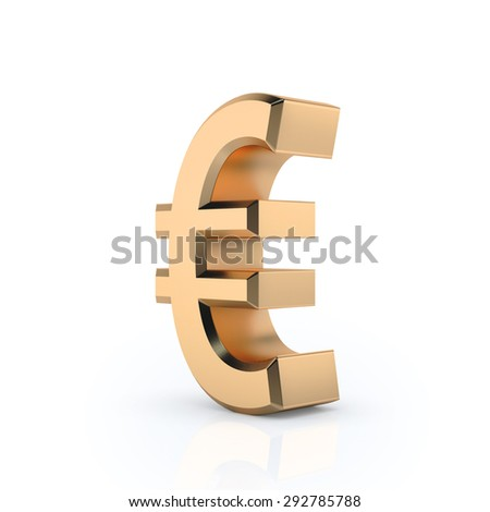 Euro golden sign 3D render on white background. Currency icons. Sign for banking business.