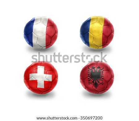 euro group A . realistic football balls with national flags of france, romania, switzerland, albania