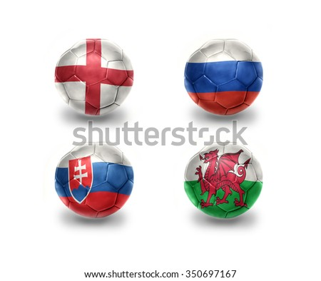 euro group B. realistic football balls with national flags of england, russia, slovakia, wales