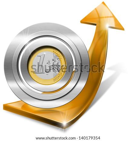 Euro Growth - Positive Orange Arrow / Orange arrow tending upwards with one euro coin - stock photo