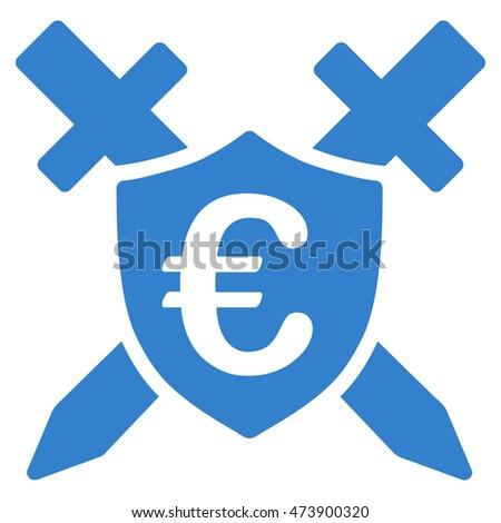 Euro Guard Shield Icon Glyph Style Stock Illustration 473900320