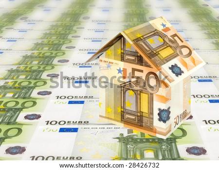 euro house with euro bills background - stock photo