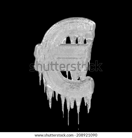 Euro. Ice font isolated on black background. Alphabet. - stock photo