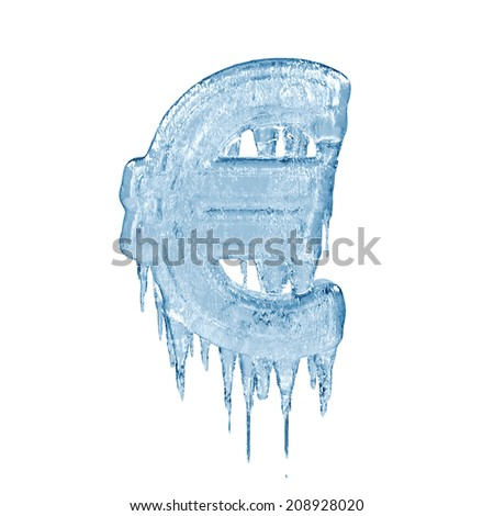 Euro. Ice font isolated on white background. Alphabet. - stock photo