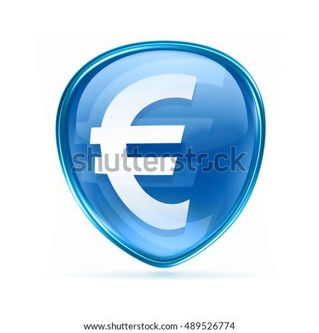 Euro icon blue, isolated on white background