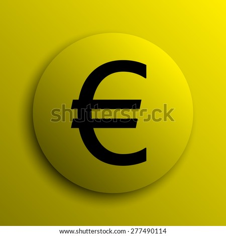 Euro icon. Yellow internet button.
