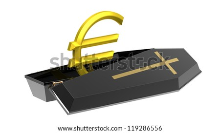 Euro in black coffin, isolated on white, 3d render, crisis in the Eurozone
