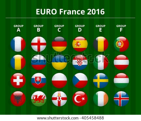 Euro 2016 in France, France 2016 football icons flags of the participating countries, Euro France 2016 Icon, Euro France 2016 flat, Euro France 2016 picture, Euro France 2016 infographic - stock photo