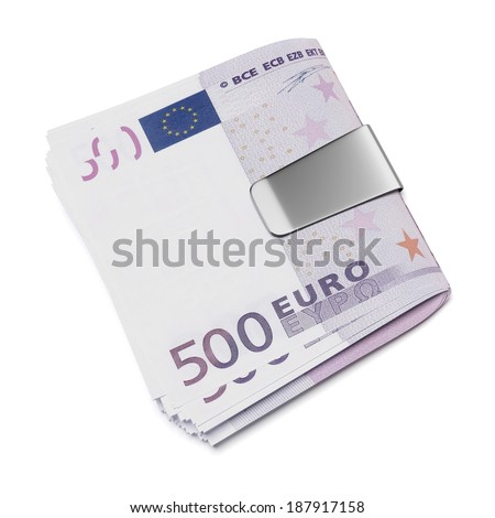 Euro in money clip - stock photo