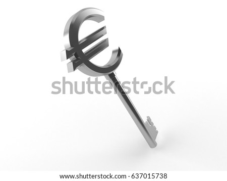 Euro key isolated on white background. 3d illustration