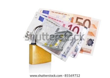Euro locked on the white - stock photo