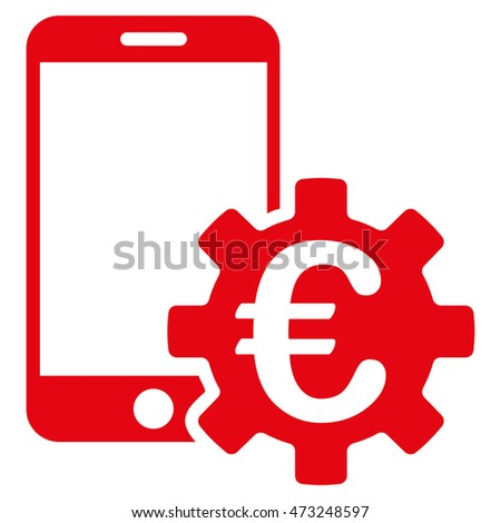 Euro Mobile Bank Configuration icon. Glyph style is flat iconic symbol, red color, white background.