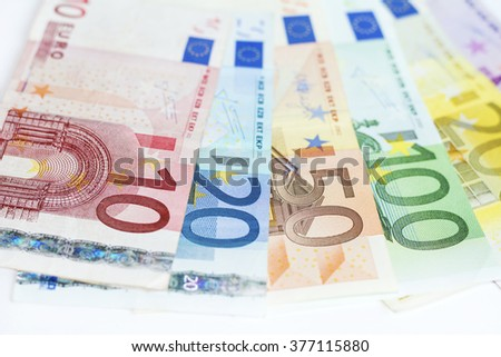 Euro  money ,200,100, 50, 20 and 10 on a white background