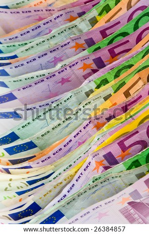 Euro money. Bank note arrangement with shallow DOF - stock photo