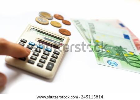 Euro money banknotes calculator  - stock photo