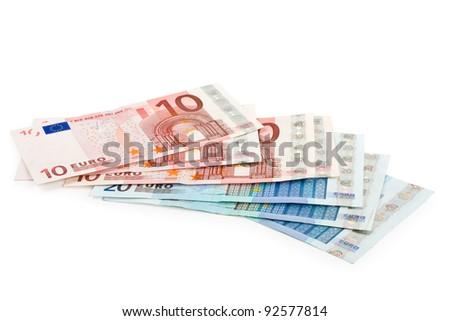 Euro money banknotes isolated on white background - stock photo