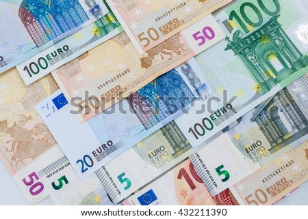Euro money banknotes showing Euro currency background. - stock photo