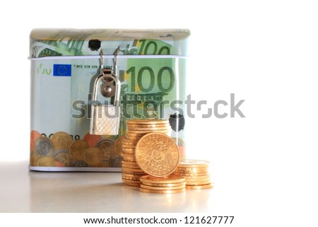 Euro money box with gold coins