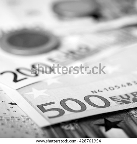 Euro money: closeup of banknotes and coins