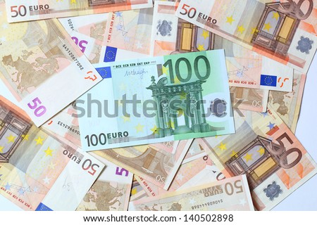 euro money. fifty and one hundred euro bills - stock photo