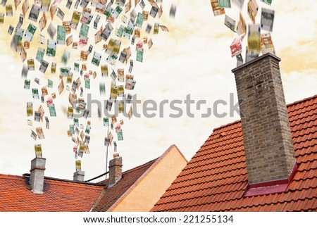euro money flies up the chimneys - stock photo