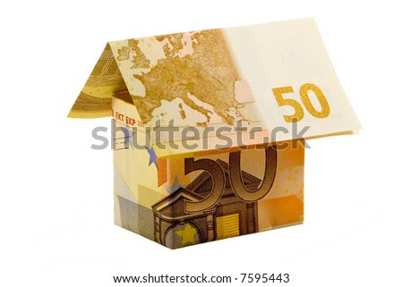 euro money house made of two 50 euro banknotes - stock photo