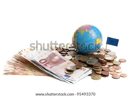 Euro money in coins and paper on a white background - stock photo