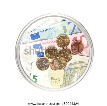 euro money in magnifier - stock photo